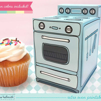 retro oven -  cupcake box, party favor box, paper toy printable PDF kit - INSTANT download