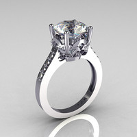 French Bridal 14K White Gold 30 Carat White Sapphire by artmasters