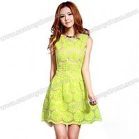 Trendy Sunflower Pattern Embroidered Solid Color Sundress For Women