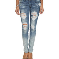 Gradient Wash Destroyed Skinny Jean | Shop Sale at Wet Seal