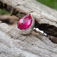 Lab created Ruby ring - sterling silver ring - rose cut ring - artisan jewelry - bezel ring - red ring - pear shape ring