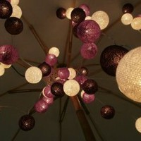 Amazon.com: Violet Tone Mixed 35 of Cotton Balls String Lights Patio Wedding and Home Decorate By I Love Handicraft: Patio, Lawn & Garden