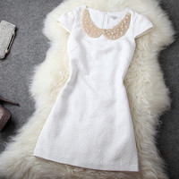 [grhmf2600068]Gorgeous Beaded Rhinestones Slim Dress