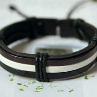 Spring Gift Fashion Multilayer Adjustable Black White Brown real Leather Bracelet cuff  C-01