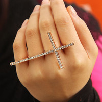 accessoryinlove — Rhinestone Double Finger Adjustable Cross Ring