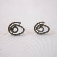 Oval Spiral Niobium Eye Post Earrings 7 x 9 mm