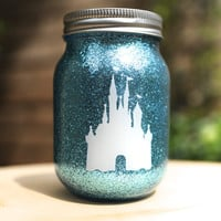 Tinted Glitter Mason Jar  -  Disney Princess Cinderella Inspired