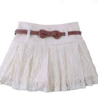 Floral lace belted short pantskirt