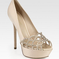 Sergio Rossi - Crystal-Coated Satin & Suede Platform Pumps