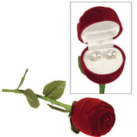 The Premium Connection Brilliant Cut Cubic Zirconia Stud Earrings In Long Stem Rose