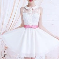 The white lace Xiangpin Slim waist big swing lapel sleeveless dress_Cute dresses_Dresses_Mili fashion Trade Co.Ltd