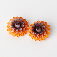 Vintage Dahlia Flower Clip On Earrings Marked Germany
