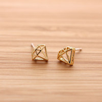 girlsluv.it - DIAMOND stud earrings, 2 colors