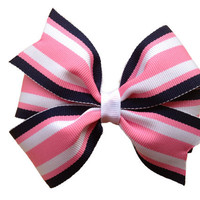 Adorable pink & navy striped hair bow - 4 inch bow