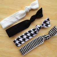 No crease hair ties - ponytail holders, black & white hair ties