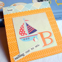Kids Nursery Art - B Is For Boat - Sailing Out To Sea - ABC Alphabet Ready to Frame Collage Wall Home Childrens Decor