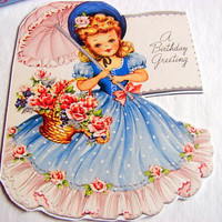 Birthday Greeting Card Keepsake Magnet - A Birthday Greeting Southern Belle Girl With A Parasol - Retro Vintage Kitsch