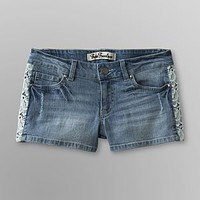 True Freedom- -Junior's Lace Trimmed Denim Shorts-Clothing-Juniors-Shorts