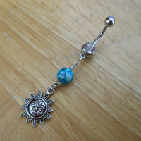 Belly Button Ring, Sun Belly Button Ring - Turquoise and Sun Belly Button Ring