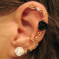 Non Pierced Ear Cuff  &quot;Climbing Roses&quot; Cartilage Conch Cuff Gold tone and Lucite Roses One Cuff Wedding, Prom