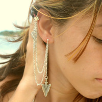 Ear Cuff Earring Boho Bohemian Hipster Feather Leaf Arrow Silver Chain