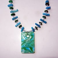 Green Aqua Beaded Pendant Necklace