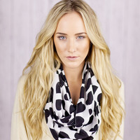 I LOVE this Scarf Hearts Infinity Scarf White Scarf with Black Hearts Circle Scarf Loop Women's Fashion Accessories