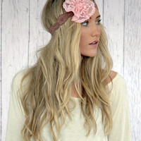 Flower Lace Headband Stretchy Dusty Taupe Lace Headband with Pink Lace Oversized Flower - Mrs. I Do Style