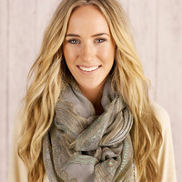 Paisley Infinity Loop Scarf Grey and Pastel toned Circle Eternity Scarf Women's Fashion Accessories