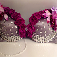 Purple Flower//Rhinestone Rave Bra by xFairyLandx on Etsy