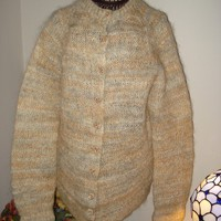 Ready to ship /Hand Knitted  Luxury Mohair WHITE CHOCOLATE Cardigan Coat- Jacket /fits L,XL