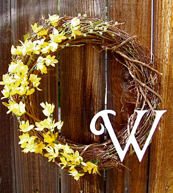 "Monogram Front Door Decoration: Personalized 18"" Wreath, Front Door From WarnerDecor On Etsy"