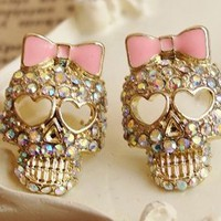 Cute Shinning Rhinestones with Skull and Bow Pattern Earrings