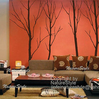 tree wall decal vinyl wall decor wall sticker nature wall decal quote home decor -  Four Winter Trees