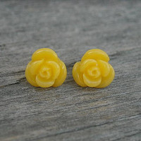 Rose Post Earrings, Yellow Rose Post Earrings, Rose Stud Earrings,