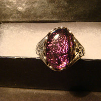 Victorian Style Dichroic Glass Antique Silver Ring- Adjustable (1060)