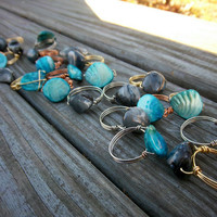 Black or Sea Blue Wire Wrapped Rings