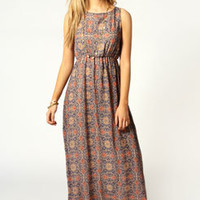 Lara Tile Print Tie Back Maxi Dress