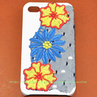 iPhone 4S/4 Case Cover with Gauze flower and jewelry for iPhone 4 Case, iPhone 4S Case,iPhone cover  d-0001