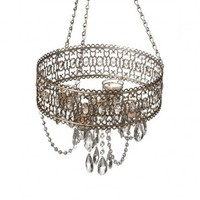 Antique Champagne Beaded Tealight Chandelier