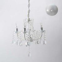 White Four Arm Chandelier with Draped Beads