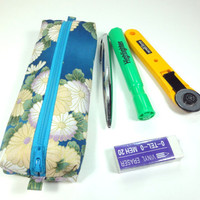 Pen Holder, Pen Pouches, Gift For Her, Handmade Pencil Case,Japanese Kimono cotton fabric Chrysanthemum Teal Blue
