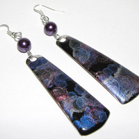 Long colourful geometrical shimmer enamel purple metal earrings with wire wrapped purple glass beads
