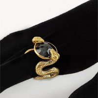 Black Diamond ring with Gold Snake Set In
