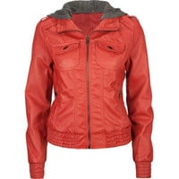 FULL TILT Faux Leather Sweater Hood Womens Jacket
