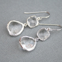 Crystal Earrings in Silver Crystal Clear by BellaJewelsInc on Etsy