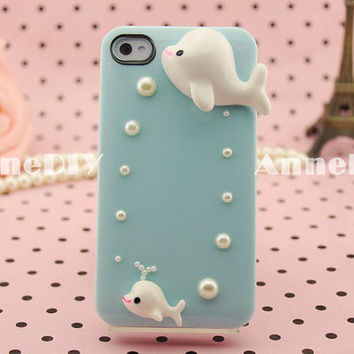 dolphins themed iPhone cover, cute iPhone 5 case, iPhone 5 cover with pearl, iPhone 4s case, handmade iPhone 4 cases
