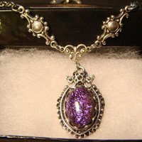 Neo Victorian Style Purple Dichroic Glass Necklace in Antique Silver (1061)