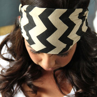 Chevron Almond and Black wide cut stretch headband, bohemian hair wrap, Boho Wide Hair Wrap, Tribal