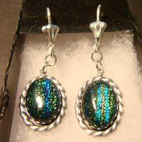 Silver Victorian Style  Dichroic Glass Leverback Dangle Earrings (1064)